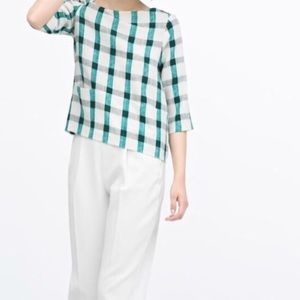 zara green white checkered top